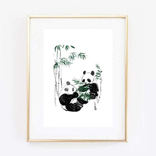 Kunstdruck Din A4 ungerahmt Panda Pärchen Bambus Bär Asiatische Kunst, Asien, Tuschemalerei, Druck, Poster, Bild