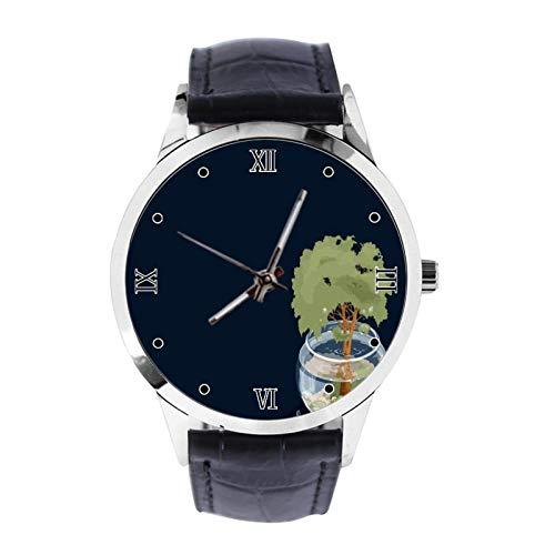 Aquarium Tree Custom Armbanduhr Unisex Analog Quarz Uhr mit Lederband Uhren für Mädchen Jungen Armbanduhr