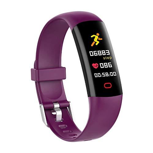 BingoFit Kids Fitness Tracker Watch with Heart Rate Monitor, Swimproof Kids Activity Tracker Pedometer Watch, Slim Sport Fitness Watch with Sleep Monitor, Calorie Counter for Kids Women Men (Purple)