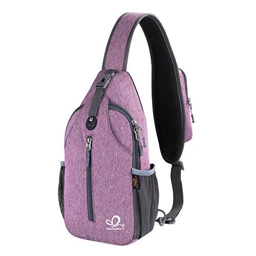 Waterfly Crossbody Sling Backpack Sling Bag Travel Hiking Chest Bag Daypack (Purple)