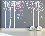 Giant Jungle Tree Wall Decal Removable Vinyl Sticker Mural Art Bedroom Nursery Baby Kids Rooms Wall Décor (White and Pink)