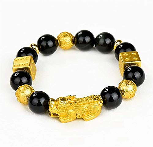 JPSOUP 2Pcs Feng Shui Pixiu Wealth Bracelet Prosperity Pi Yao Lucky Charm Coin Dice Bangle Healing Gems Crystal Bracelet Amulet Attract Money Luck Windfall Gamble Luck Unisex