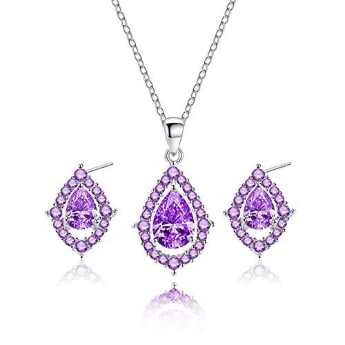 QEPOL - Juego de collar y pendientes de lágrima de cristal con circonita cúbica y pendientes colgantes para mujer, juego de joyas de boda morado
