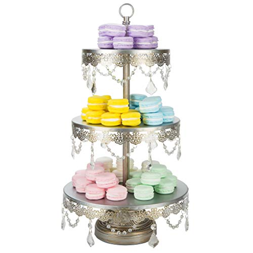 """'Sophia Collection'' 3 Tier Dessert Stand, Cupcake Tower with Crystal Beads and Dangles, 22"""" Tall (Silver)"""