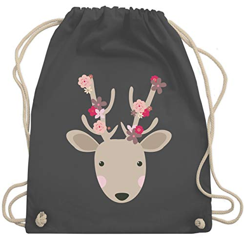Oktoberfest Kind - Süßer Hirsch - Frühlingstiere mit Blumen - Unisize - Dunkelgrau - sporttasche personalisiert einhorn - WM110 - Turnbeutel und Stoffbeutel aus Baumwolle