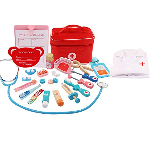 Doctors Set for Kids Medical Playset Role Play Dentist Toys Kids Medical Kit Wooden Simulation Cloth Bag Medicine box and Dress Up Costumes Gift for Boys Girls
