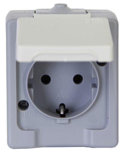 Kopp 100648007 Schutzkontakt-Steckdose 1-fach, Aufputz-Feuchtraum Standard