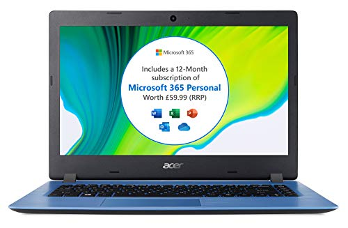Acer Aspire 1 A114-32 14 inch Laptop (Intel Celeron N4020, 4GB RAM, 64GB eMMC, HD Display, Windows 10 in S Mode, Office 365 Personal, Blue)