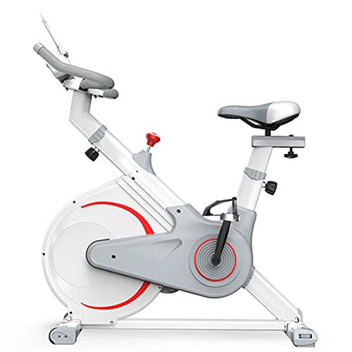 Indoor Cycling Bike Stationair, Upright hometrainer, met verstelbare zadel en stuur, Weight Loss Fitness Equipment Home Cardio Workout Training,White2