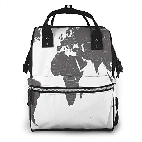 UUwant Sac à Dos à Couches pour Maman World Map Country Names Education Diaper Bags Large Capacity Diaper Backpack Travel Nappy Bags Mummy Backpackling