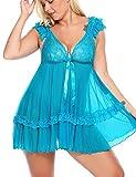 ADOME große größen Spitze Negligee V-Ausschnitt Babydoll Lingerie Dessous Nachtwäsche Kleid Plus Size Unterwäsche für Damen