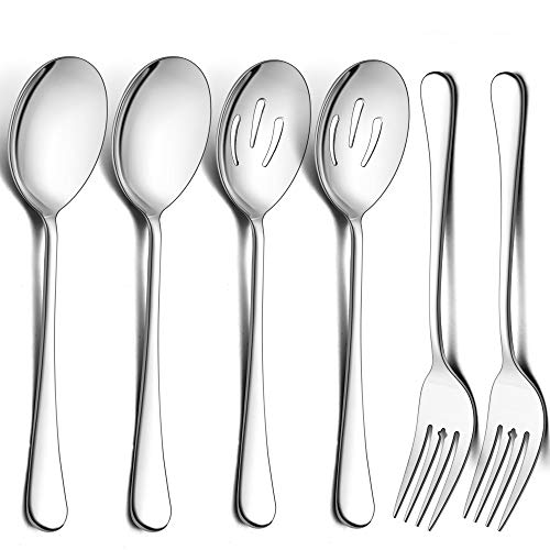 LIANYU Large Serving Spoons and Forks Set of 12, Stainless Steel Buffet Catering Dinner Party Slotted Serving Spoon Fork, 9.8 Inch, Mirror Finished, Dishwasher Safe