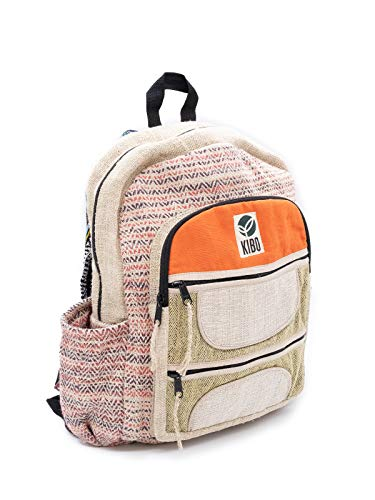Kibo Hanf Rucksack Hemp Backpack KRS003, handgefertigt, Boho/Hippie-Style