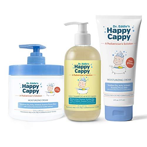 Happy Cappy Eczema Trio | 12 oz Jar of Moisturizing Cream, 6 oz Tube of Moisturizing Cream, and Daily Eczema Cleanser