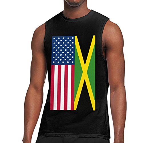 WLQP Camiseta sin Mangas para Hombre Jamaica American Flag Men's Tank Tops Gym Sport Sleeveless Tees