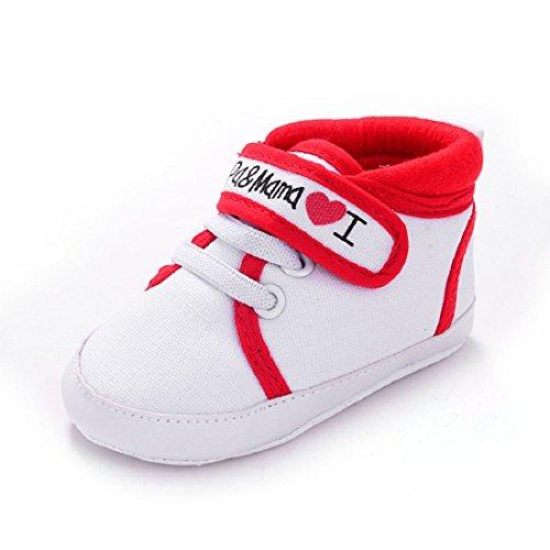 Amison Niedlich Baby Säugling Kind Junge Mädchen weiche Sohle Leinwand Sneaker Kleinkind Schuhe (12-18 Monate, Rot)