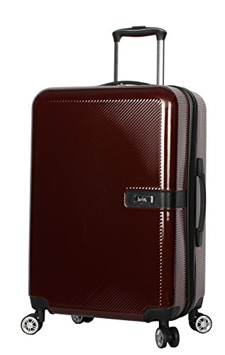 Nicole Miller New York Ria 24 Inch Luggage Collection - Scratch Resistant (ABS + PC) Hardside Bag- Lightweight Suitcase with 8-Rolling Spinner Wheels (24 in, Ria Burgundy)
