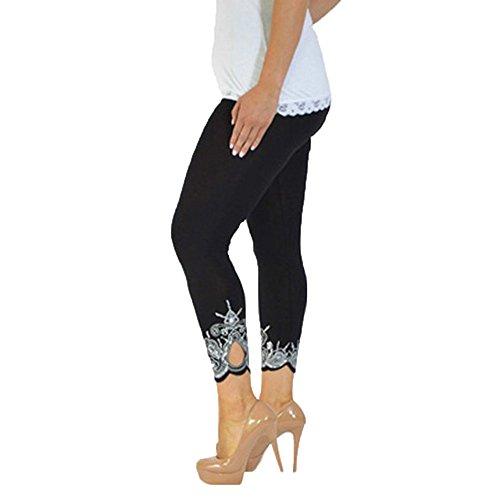 Lenfesh Leggings talla grande Deportivos de Cintura Alta de Tela Suave de Malla Pantalones de Yoga Elásticos para Mujer S-5XL (4XL, Negro)
