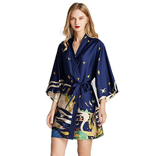 AXIANQIPJS vrouwen Dierenprint Sexy Robes Silk pyjamaset lange mouwen pyjama met knoop riem badjas lente en herfst nachtkleding