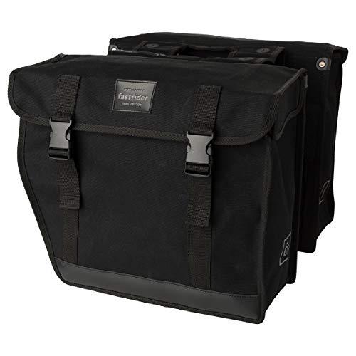 FastRider Canvas 93 Doppelte Fahrradtasche für Gepäckträger, 41L Seitentasche Fahrrad, 100% Kanevas Gepäckträgertasche, Wasserabweisend, Reflektierend, Einfache Montage - Schwarz