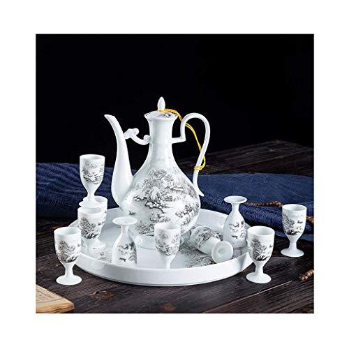 MISS KANG - Juego de vino de cerámica de 12 piezas, blanco Snow Scene Qingchunw