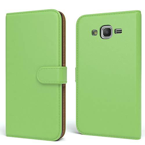 EAZY CASE Tasche für Samsung Galaxy Grand Prime Schutzhülle mit Standfunktion Klapphülle im Bookstyle, Handytasche Handyhülle Flip Cover mit Magnetverschluss & Kartenfach, Kunstleder, Grün