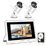 YESKAMO Wireless CCTV Camera Systems Outdoor 2 pcs 1080P Home CCTV Security System with 12'' Full HD IPS Screen,4CH NVR Monitor Video Surveillance Kits with 1TB HDD,Plug&Play Remote Monitoring