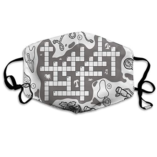 Colorless Pirates Themed Educational Puzzel Treasure Map and IConsPrinting Safety Mouth Cover voor volwassenen