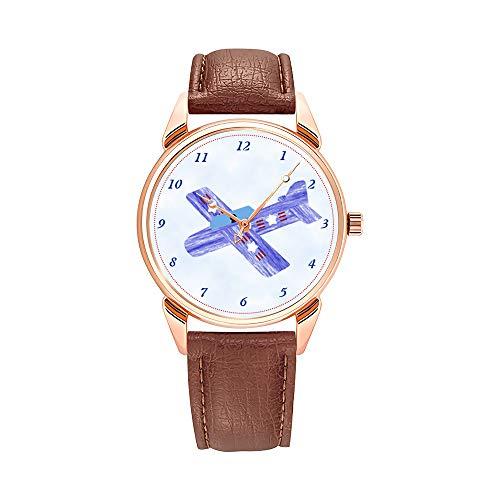 Reloj de cuarzo para hombre, resistente al agua, de piel marrón y madera de balsa patriótica, réplica de avión