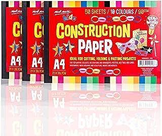 Mont Marte Construction Paper, Large Construction Paper for Kids, 10 Assorted Color 150 Sheets&A4 Size 90 GSM