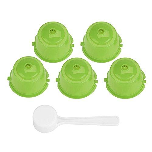 Juego de filtros de cápsulas de café recargables para cápsulas de café Dolce Gusto Nescafe Dolce Gusto reutilizables con cuchara (5 unidades)