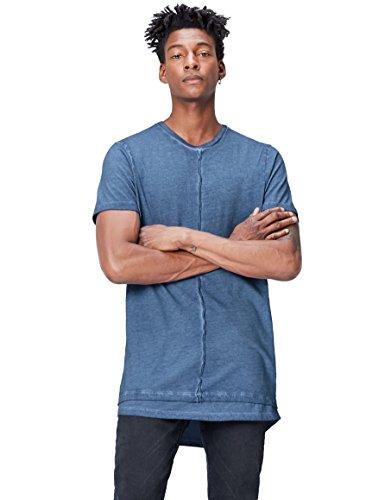 Marca Amazon - find. Camiseta Larga Hombre, Azul (Blue), L, Label: L