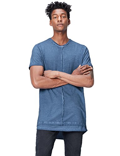 Marca Amazon - find. Camiseta Larga Hombre, Azul (Blue), L, Label: L