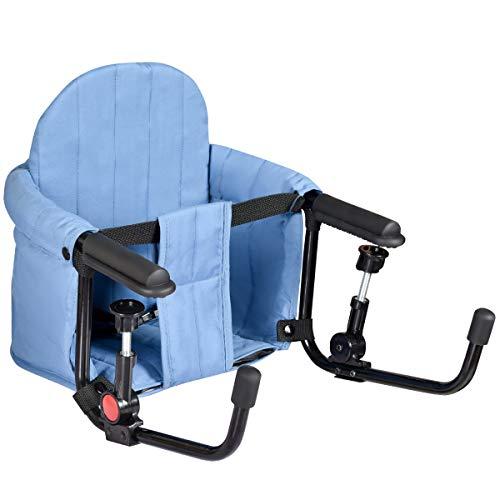 COSTWAY Folding Baby Hook On Seat with Removable Backrest, Storage Pocket,...