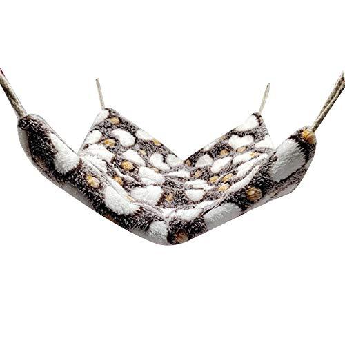 Souarts Kleintiere Hängematte Kuschelbett Warme Hamster Käfig Weiche Hängebett Für Ratten, Frettchen, Papageien, Meerschweinchen(Herz Kaffee,S 22x24cm)