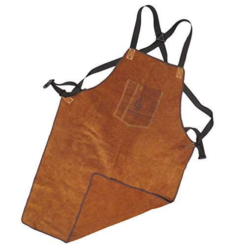 Leather Welding Apron by BlueFire Tools - Fire/Heat Resistant - Heavy Duty Work - Welder/Carpenter/Blacksmith/Machinist/Mechanic/Gardening - Industrial or Home Use - Full Length for High Level of Safe