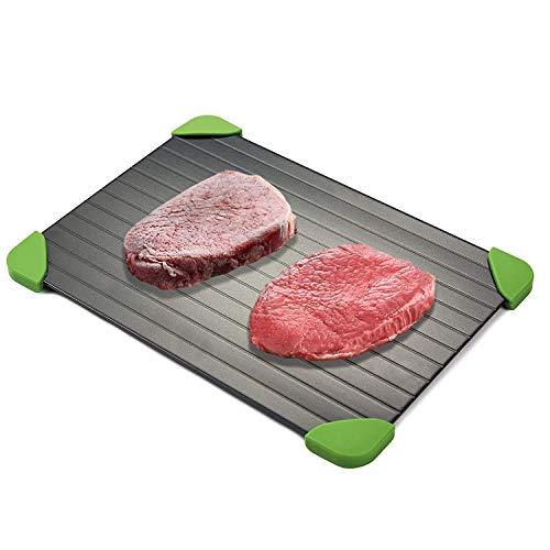 Defrost Tray | Rapido Alluminio Vassoio di Scongelamento piastra per Scongelare Carne, Pesce o Qualsiasi Altro Cibo Surgelato | Naturale, senza Elettricità, Chimici, nessuna Microonde, Antiaderente