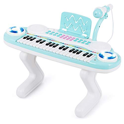 COSTWAY 37 Tasten Klaviertastatur mit Licht, Kinder Keyboard mit Ständer, Klavier Spielzeug elektronisch, Musikinstrument mit Aufnahme- und Abspiel-Funktion, inkl. Musikpartitur und Mikrofon (Blau)