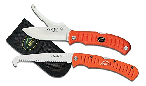 Outdoor Edge Flip N' Blaze - Folding Knife/Saw Hunting Combo Set with Double Blade Skinning/Gutting Knife, Aluminum Handle Folding Saw and Nylon Belt Sheath