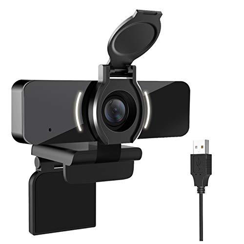 LarmTek Webcam 1080P con microfono e cover per privacy,Videocamera USB per webcam,Webcam streaming HD per PC desktop e laptop con microfono