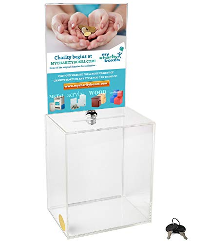 My Charity Boxes - Large Donation Box - Ballot Box - Suggestion Box - Acrylic Box - Tip Box- with Large Display Area