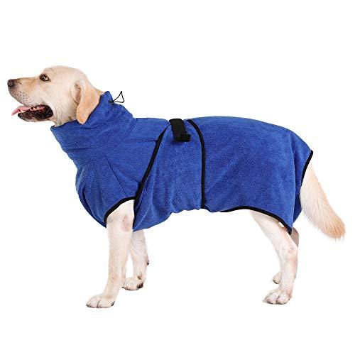 Hunde-Bademantel Mikrofaser Hundehandtuch Schnell Trocknend mikrofaser Handtuch Super Saugfähig Komfortabel und mit Verstellbaren Trägern für Haustiere Hunde und Katzen,Blau(M)