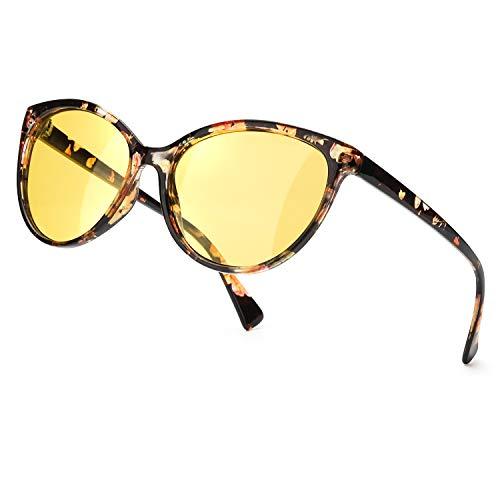 TJUTR Polarisierte Nachtfahrtbrille Damen, HD-Nachtsichtbrillen Reduzieren Blendung UV-Schutz Nachtbrillen (Blumen/Gelb Nachtsichtbrille)