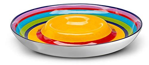 Kook Pommes- und Dip-Schale, Servierplatte, Keramik, mehrfarbig, Chips, Dips, Vorspeisen, 32 cm