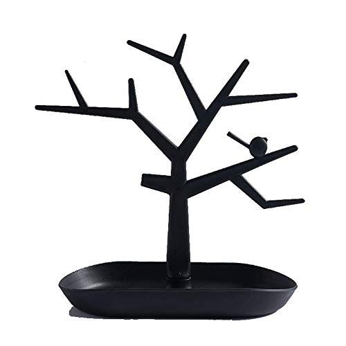 NAFE Soporte de joyería, vintage pájaro rama adornos de mesa, puede contener collares de gran capacidad, pulseras y pendientes-negro