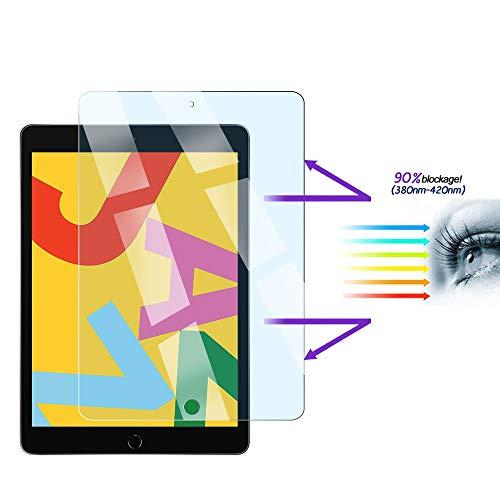 FiiMoo Anti-Blaulicht Panzerglas Displayschutz Folie kompatibel mit iPad 10.2 2019 / iPad 7, Augenpflege, Augenermüdung lindern [Blockiert übermäßiges schädliches blaues Licht & UV]