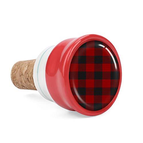 Red of Buffalo Bouchon en céramique pour bouteille de vin Motif écossais 4,1 cm