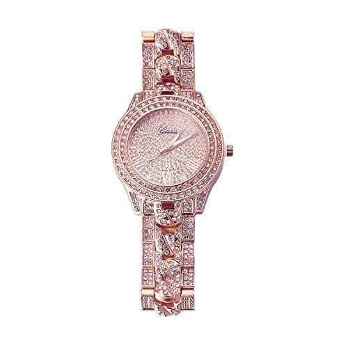 Halukakah Reloj de Oro Hombres Iced out,Chapado en Oro Rosa de 18k Pulsera de Cuarzo con Banda Insertada en Cadena Cubana 9.5'(24cm),Cz Completo Diamante de Laboratorios,Gratis Caja de Regalo