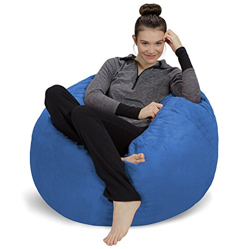 Sofa Sack - Plush, Ultra Soft Bean Bag Chair - Memory Foam Bean Bag Chair with Microsuede Cover - Stuffed Foam Filled Furniture and Accessories for Dorm Room - Royal Blue 3'