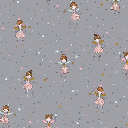 Baumwollstoff Ballerina hellgrau//rosa Breite 160cm